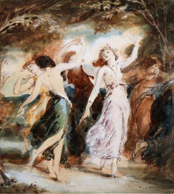 An ink, watercolour, graphite and gouache drawing of nymphs dancing.