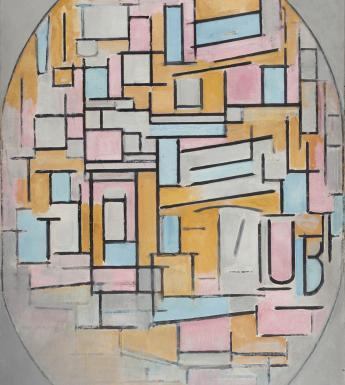 An oval composition with shapes in grey, blue, pink and orange contained within.