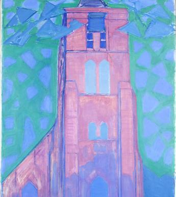 A church tower painted in vivid bright pink, with blue and green background