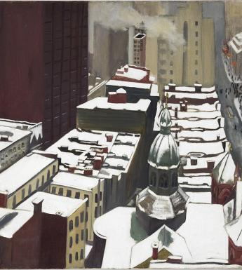 A stylised painted view of New York, painted from a high viewpoint looking down on the snow-covered roofs of buildings.