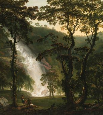 A painting showing the waterfall at Powerscourt Estate, Co. Wicklow through trees. In the left foreground of the painting, we can see some figures who are dwarfed by the grandeur of the waterfall.