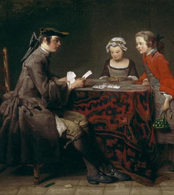 Oil painting of a young girl and boy watching a man perform a card trick on a table covered with a patterned red cloth.