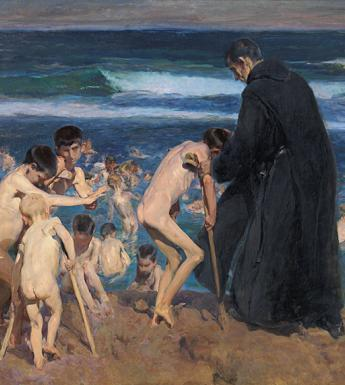 Oil painting of a group of children with disabilities swimming nude in the sea accompanied by an adult wearing dark clothing.