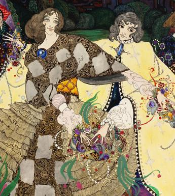 Ornate watercolour illustration by Harry Clarke showing figures in a stylised garden.