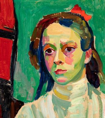 Detail from Gabriele Munter's painting 'Girl with a Red Ribbon', 1908.