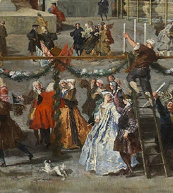 Painting showing people in 18th-century dress preparing for celebrations in Piazza Navona in Rome.