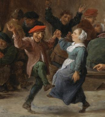 Seventeenth-century Dutch painting of country people dancing, drinking and talking.