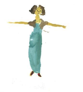 Watercolour of woman in a green dress standing with her arms out perpendicular to her body.