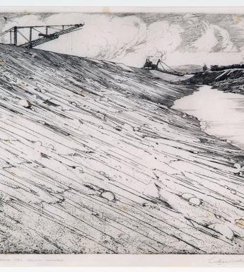 Black and white etching of a canal being dug for the Shannon Scheme, with a large bank of earth filling three-quarters of the composition, and two machines silhouetted against the sky.