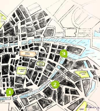 Accompanying the audio play is a map of the Grand Canal in Dublin, which pinpoints the 3 locations that the story occurs. The map was created by Irish artist Annie Gahan