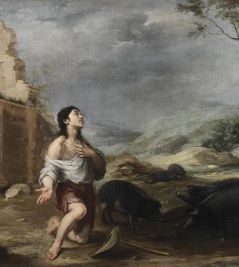 Oil painting of the Prodigal Son feeding swine