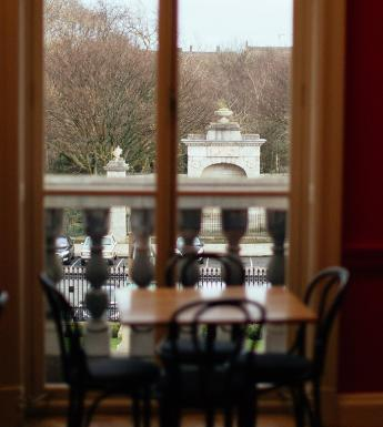 Photo of the view over Merrion Square through the window of the Members' Room in the National Gallery of Ireland.