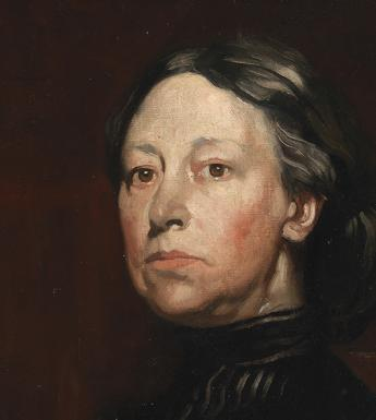 A painted portrait of Augusta Gregory.