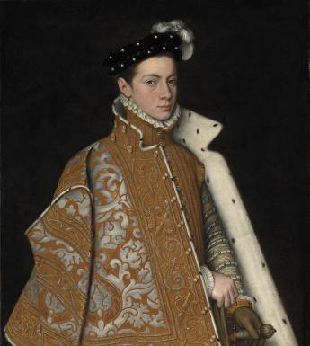 Three-quarter length portrait in oil of a young man wearing an elaborate embroidered cape, ruff and cap, and holding a sword.