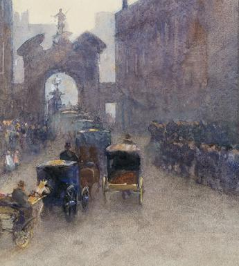 Detail from Rose Barton, Going to the Levée at Dublin Castle, 1897