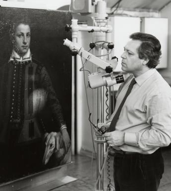 Sergio Benedetti at work in the Conservation Studio in the National Gallery of Ireland.