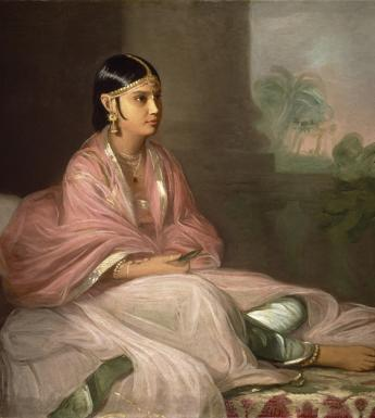 A painted portrait of an Indian woman, seated with legs crossed, with a landscape in the background.