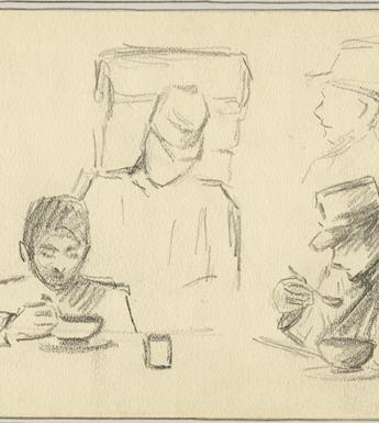 A drawing of two wounded and convalescing Italian soldiers from WWI eating from bowls at a table.