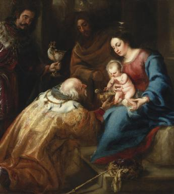 Oil painting of the three Magi presenting gifts to the Christ Child who is seated on the Virgin Mary's lap.