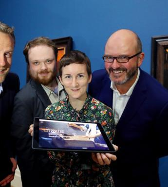 At the launch in the Gallery of the new website www.connectvermeer.org were (l-r): Dr Adriaan Waiboer, Head of Collections and Research and Claire Crowley, Curatorial Assistant, National Gallery of Ireland, with Alan Clifford and Niall OhOisin NOHO, web designers of connectvermeer.org.