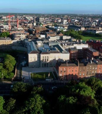 Aerial photograph of the National Gallery of Ireland taken from a drone.