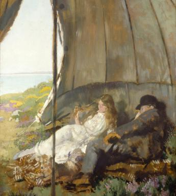 Painting of man and woman in a tent looking at the sea