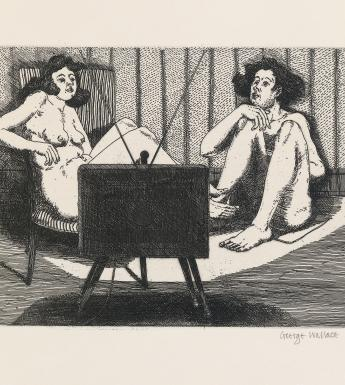 Two naked figures set looking at a television set in front of them, which illuminates them