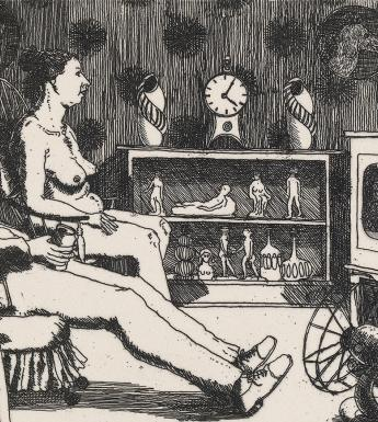Two figures set on chairs in front of television screen. The man is clothed, and the woman is naked. On the screen they are watching, a couple kisses