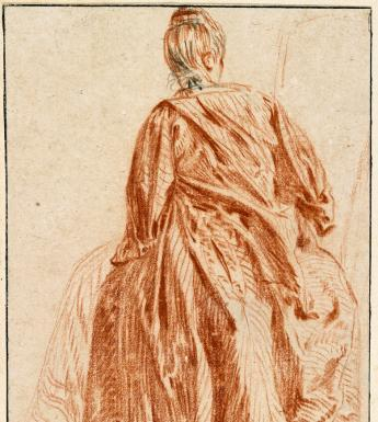 A chalk drawing of a woman