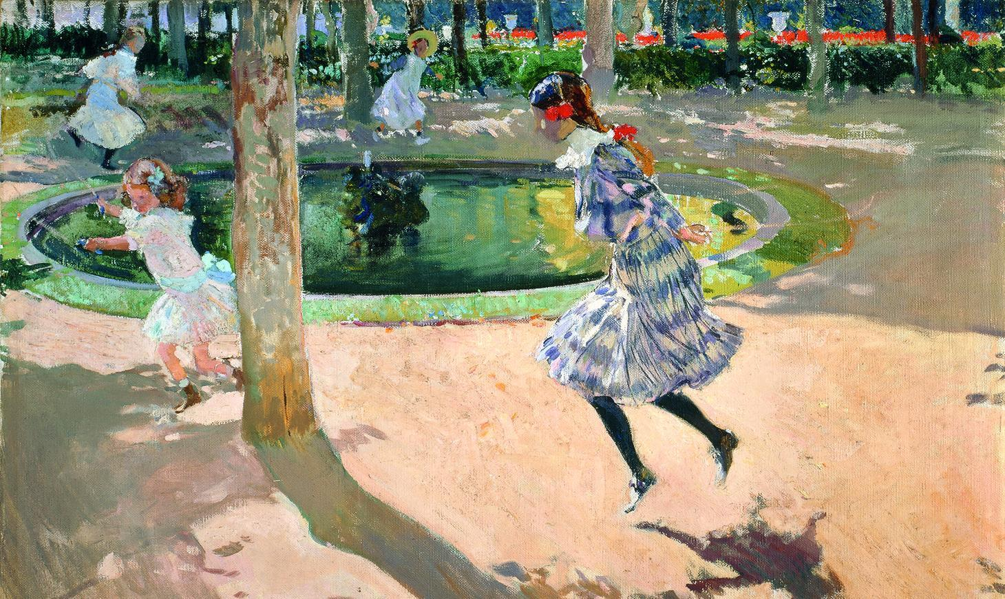 A scene set in a sun dappled park - four girls are using jump ropes around a pond. Three of the girls are dressed in white. The eldest girl in the foreground of the picture is wearing a blue and white dress, black stockings, and a red ribbon.