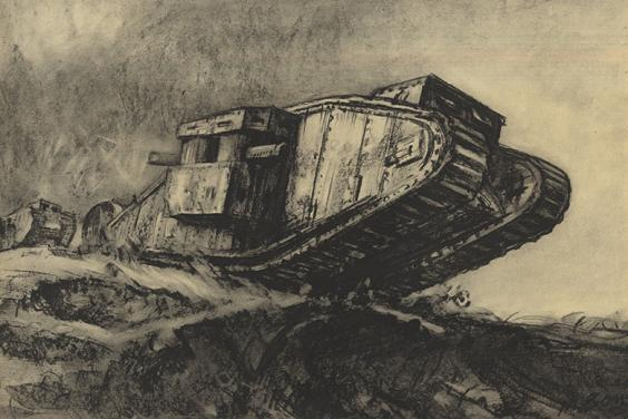 A drawing of a WWI tank by Muirhead Bone, reproduced in the 1917 book 'War drawings from the collection presented to the British Museum by His Majesty's Government ', 1917.