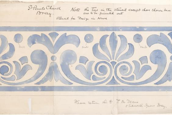 Thomas Manly Deane, 'Saint Paul's Church Bray, Stencil for Frieze in Nave', c.1880. © National Gallery of Ireland