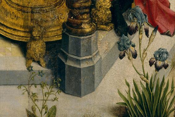 Detail of flowers in foreground of Two Scenes from the Life of a Saint.