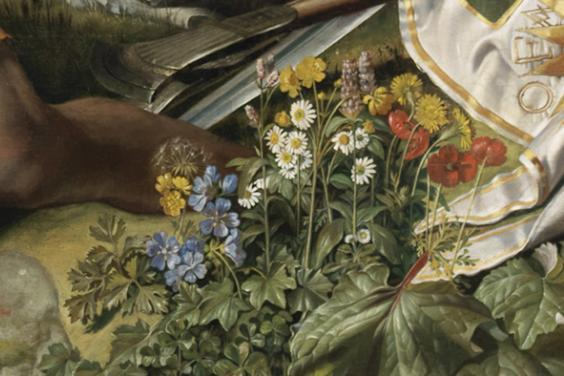 Detail of flowers in foreground of Daniel Maclise's painting of the Marriage of Strongbow and Aoife.