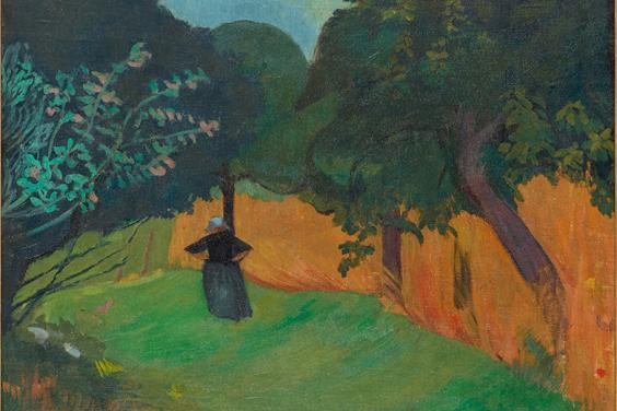 Paul Sérusier, 'Breton Woman next to a Field of Corn', c.1890-9. Image © Ashmolean Museum, University of Oxford