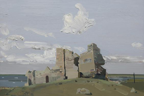 Painting of a castle ruin on a grassy hill, against a pale cloudy sky.