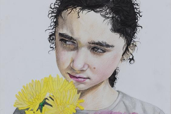 A watercolour and pencil portrait of a young dark-haired girl wearing a white t-shirt with a pink and yellow star pattern. She holds a bunch of yellow flowers close to her face, and is looking off into the distance.