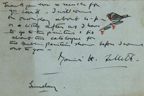 Photo of a manuscript letter with bird illustration