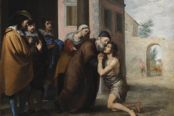 Oil painting by Murillo of an episode from the Prodigal Son parable