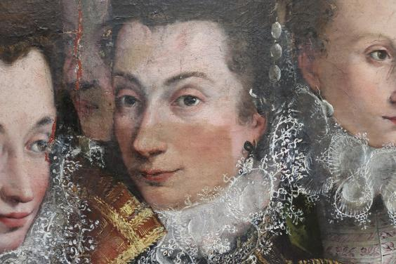 Areas of discoloured varnish removed from the painting