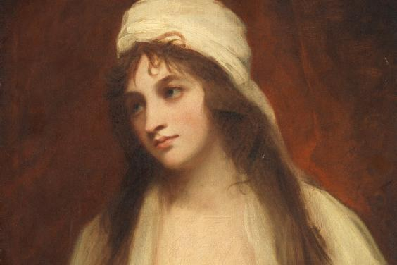 A half-length portrait of a woman with long hair, dressed in white and wearing a white cap.