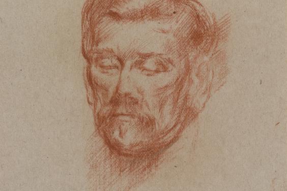 A drawing in red chalk of the head of playwright JM Synge