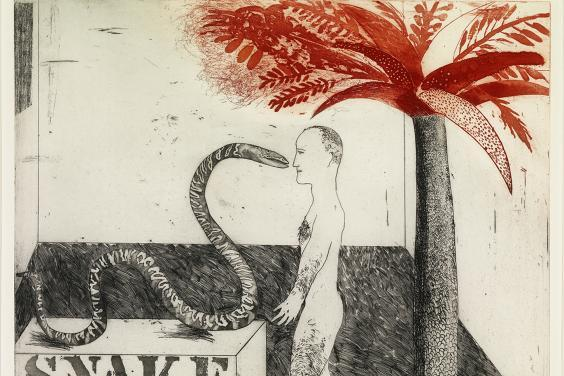 An etching showing a snake, a. man, and a red palm tree