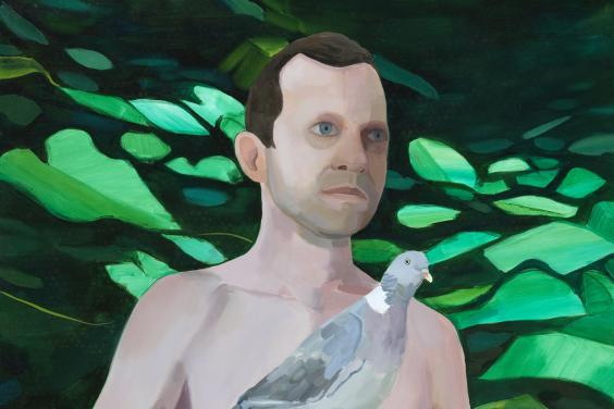 A half length oil portrait of a man, naked, with a pigeon perched on his outstretched finger. Behind him, deep green foliage.