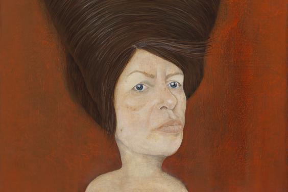 An oil portrait of a woman. She is set against a vibrant red background. She looks directly at the viewer, and her hair is in an enormous beehive style piled on top of her head.