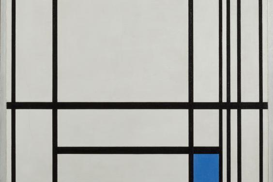 A composition with black lines on white, and one blue-filled square