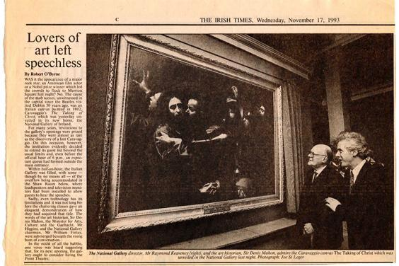 Newspaper clipping from November 1993 with headline: Lovers of art left speechless.