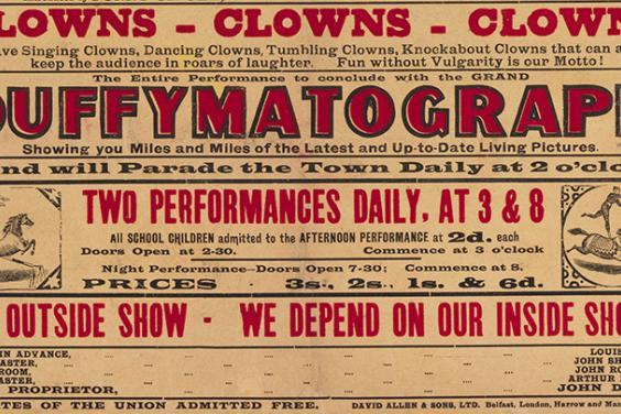 Detail from a Duffy's Circus poster, Yeats Archive, National Gallery of Ireland.