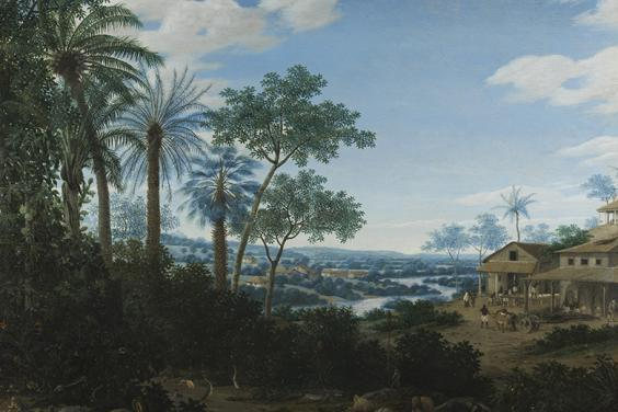 An oil painting of a Brazilian landscape with Brazilian animals in the foreground, and sugar mill buildings in the middleground with enslaved people working.