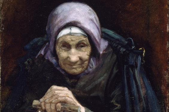 A painting of an elderly woman, a fisherman's mother, wearing a purple headscarf and leaning both hands on a walking stick.